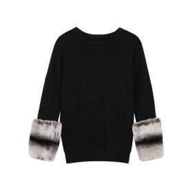 Izaak Azanei Black Fur-trimmed Wool And Cashmere-blend Jumper