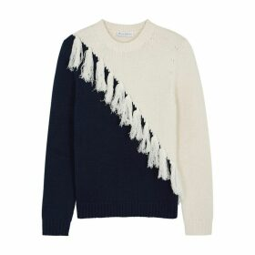 JW Anderson Two-tone Tassel-embellished Wool-blend Jumper