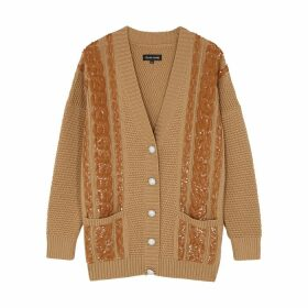 Izaak Azanei Camel Embellished Merino Wool Cardigan