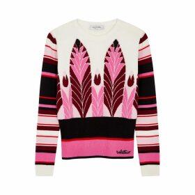 Valentino Pink Intarsia Wool-blend Jumper