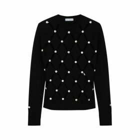 Paco Rabanne Black Crystal-embellished Wool Jumper
