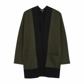EILEEN FISHER Black And Green Wool Cardigan