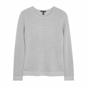 EILEEN FISHER Grey Metallic-knit Wool-blend Jumper