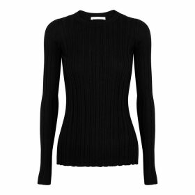 Helmut Lang Black Ribbed Merino Wool Jumper