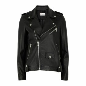 RED Valentino Black Pleated Leather Jacket