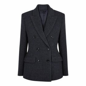 Samsøe & Samsøe Miroux Navy Checked Double-breasted Blazer