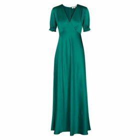 Diane Von Furstenberg Avianna Teal Satin Maxi Dress