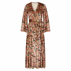 ROTATE Birger Christensen Beatrix Floral-print Velvet Wrap Dress