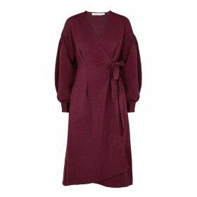 Samsøe & Samsøe Merrill Burgundy Satin Wrap Dress