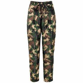 Izaak Azanei Camouflage-print Satin Trousers