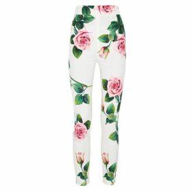 Dolce & Gabbana White Floral-print Leggings