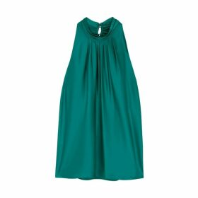 Diane Von Furstenberg Dove Teal Satin Top