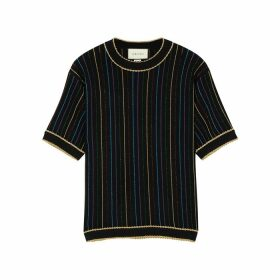 Gucci Striped Metallic-knit Wool-blend Top