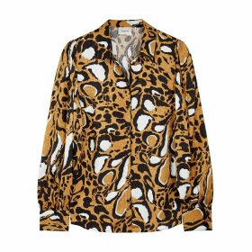 Gestuz Lori Leopard-jacquard Satin Blouse