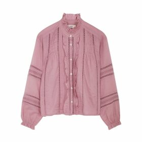 Isabel Marant Étoile Valda Pink Ruffle-trimmed Cotton Shirt