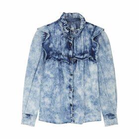 Isabel Marant Étoile Idety Blue Ruffle-trimmed Denim Shirt
