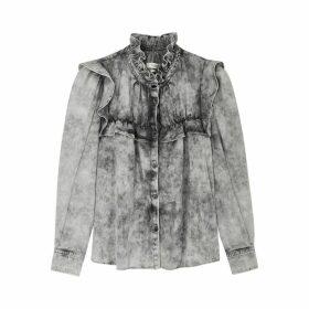 Isabel Marant Étoile Idety Grey Ruffle-trimmed Denim Shirt