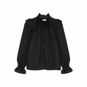 Isabel Marant Étoile Atedy Black Ruffle-trimmed Linen Shirt