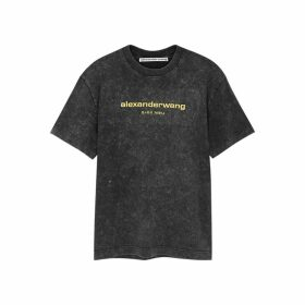 Alexander Wang Grey Logo-embroidered Cotton T-shirt