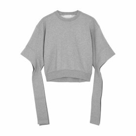 JW Anderson Grey Cropped Cotton Sweatshirt