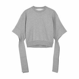 JW Anderson Grey Cropped Cotton Sweatshirt