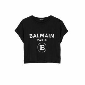 Balmain Black Logo Cropped Cotton T-shirt