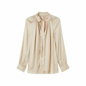 Jigsaw Crocus Drape Tie Neck Top