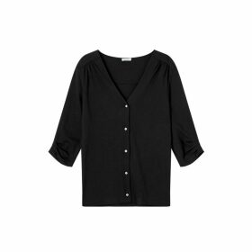 Jigsaw Jersey V Neck Button Blouse