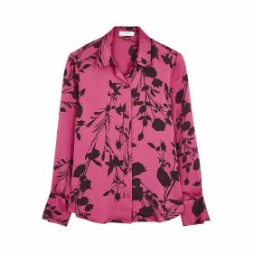 Equipment Sedienne Pink Floral-print Satin Blouse