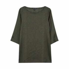 EILEEN FISHER Army Green Printed Silk-blend Top