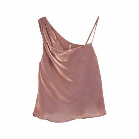 Free People Rose Draped Shoulder Satin Top