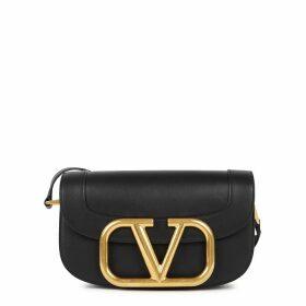 Valentino Valentino Garavani My VLogo Black Leather Saddle Bag