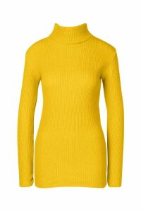 Womens Tall Roll Neck Jumper - yellow - M/L, Yellow
