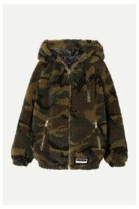Miu Miu - Camouflage-print Fleece Hoodie - Army green