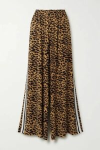 Norma Kamali - Elephant Striped Leopard-print Stretch-jersey Wide-leg Pants - Leopard print