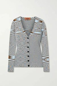 Missoni - Striped Crochet-knit Cotton Cardigan - Light blue
