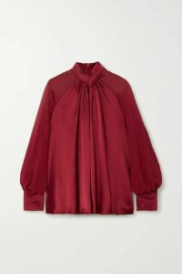Max Mara - Enna Knotted Silk-satin And Chiffon Blouse - Red