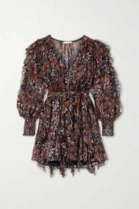 Ulla Johnson - Natalia Ruffled Printed Fil Coupé Silk And Lurex-blend Mini Dress - Black