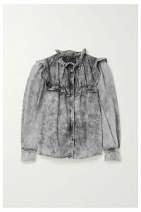 Isabel Marant Étoile - Idety Oversized Ruffled Acid-wash Denim Shirt - Gray