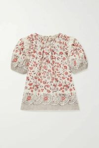 Ulla Johnson - Arbor Ruffled Floral-print Cotton-voile Top - Ecru