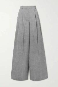 Joseph - Benton Pleated Mélange Wool-blend Wide-leg Pants - Gray