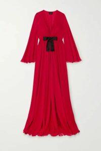 Giambattista Valli - Bow-detailed Ruched Silk-georgette Maxi Dress - Red