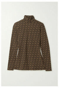 Burberry - Printed Stretch-jersey Turtleneck Top - Brown