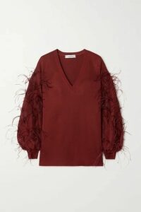 Valentino - Feather-embellished Ponte Sweater - Red