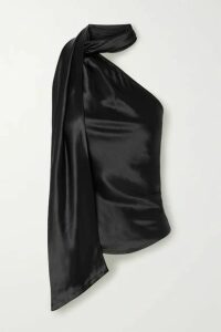 The Range - Convertible One-shoulder Satin Top - Black