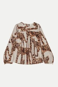 MUNTHE - Pleated Animal-print Voile Blouse - Ecru