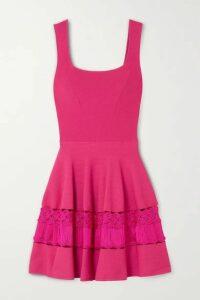 Alexander McQueen - Crochet-trimmed Stretch-knit Mini Dress - Pink