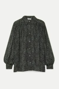Anine Bing - Caleb Oversized Animal-print Silk-crepon Blouse - Forest green