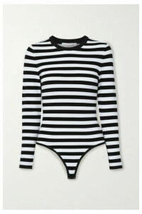 Michael Kors Collection - Striped Stretch-jersey Bodysuit - Black