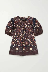 Ulla Johnson - Arbor Ruffled Floral-print Cotton-voile Top - Midnight blue